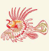 Tattoo Lion fish — Stock Vector