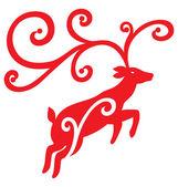 Christmas Reindeer Jump Up — Stock Vector