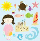 Little girl on the beach — Stock Vector