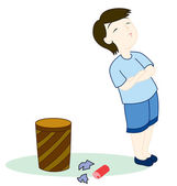 Kid with rubbish — Stock Vector