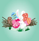 Rabbit Love Egg — Stock Vector