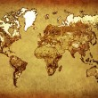 Foto Stock: Ancient map world on old paper