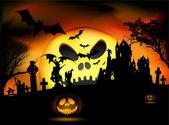 Vector Halloween scene — Stock Vector
