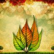Beautiful autumn leaf illustration background — Stock Photo