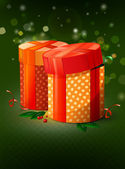 Christmas present boxes | vector card illustration — Stock Vector