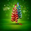 Christmas ribbon tree — Stock Photo