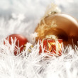 Christmas balls whit litle decorating box on white | greeting — Stock Photo