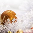 Gold Christmas ball | greeting card photograph — Stock Photo