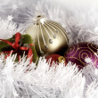 Christmas balls and box arrangement | greeting card photograph — Stock Photo