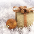 Dold Christmas Box and ball | Christmas greeting — Stock Photo