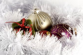 Christmas balls and box arrangement | greeting card photograph — Stock Photo