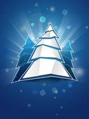 Folded paper Christmas tree postcard — Stock Vector