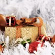 Golden Christmas decoration box — Stock Photo