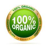 100 percent organic badge — Stock Vector