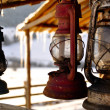 Stock Photo: Rusted old petroleum lamps