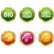 Organic and bio badge set — Stock Vector