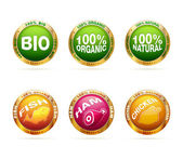 Organic and bio badge set — Stok Vektör
