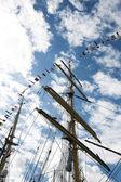 Ship Masts and Sky — Stock Photo
