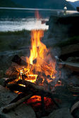 Bonfire near lake — Stock Photo
