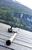 Fishing gear on jetty — Stockfoto