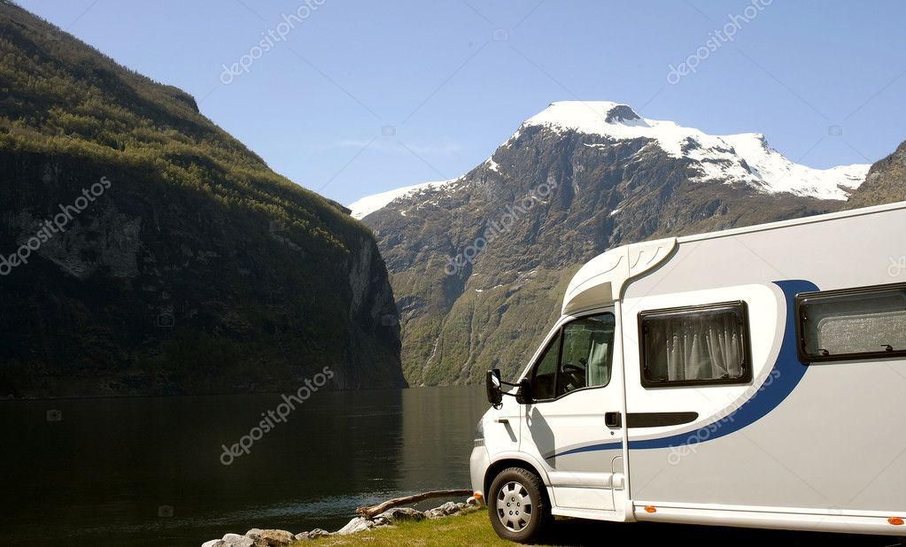 Motorhome parked at the campsite at riverside , Geirangerfjord  — Stock Photo #4158307