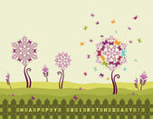 Happy birthday card with flowers — Stock Vector