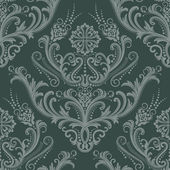 Luxury green floral damask wallpaper — Stock Vector