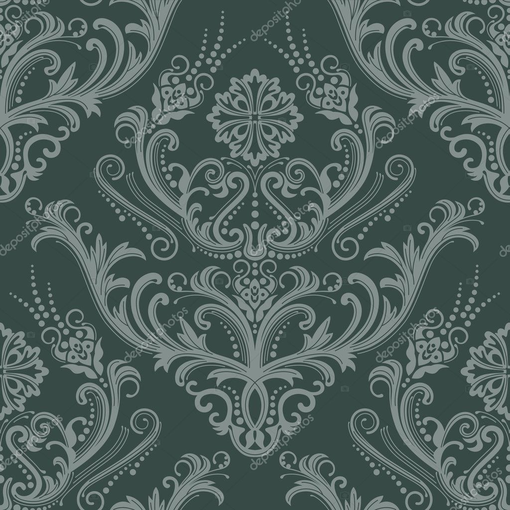 luxury green floral damask wallpaper stock vector lina