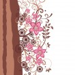 Stock Vector: Brown and pink floral border