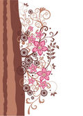 Brown and pink floral border — Stock Vector