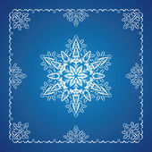 Single detailed snowflake with Christmas border — Stock Vector