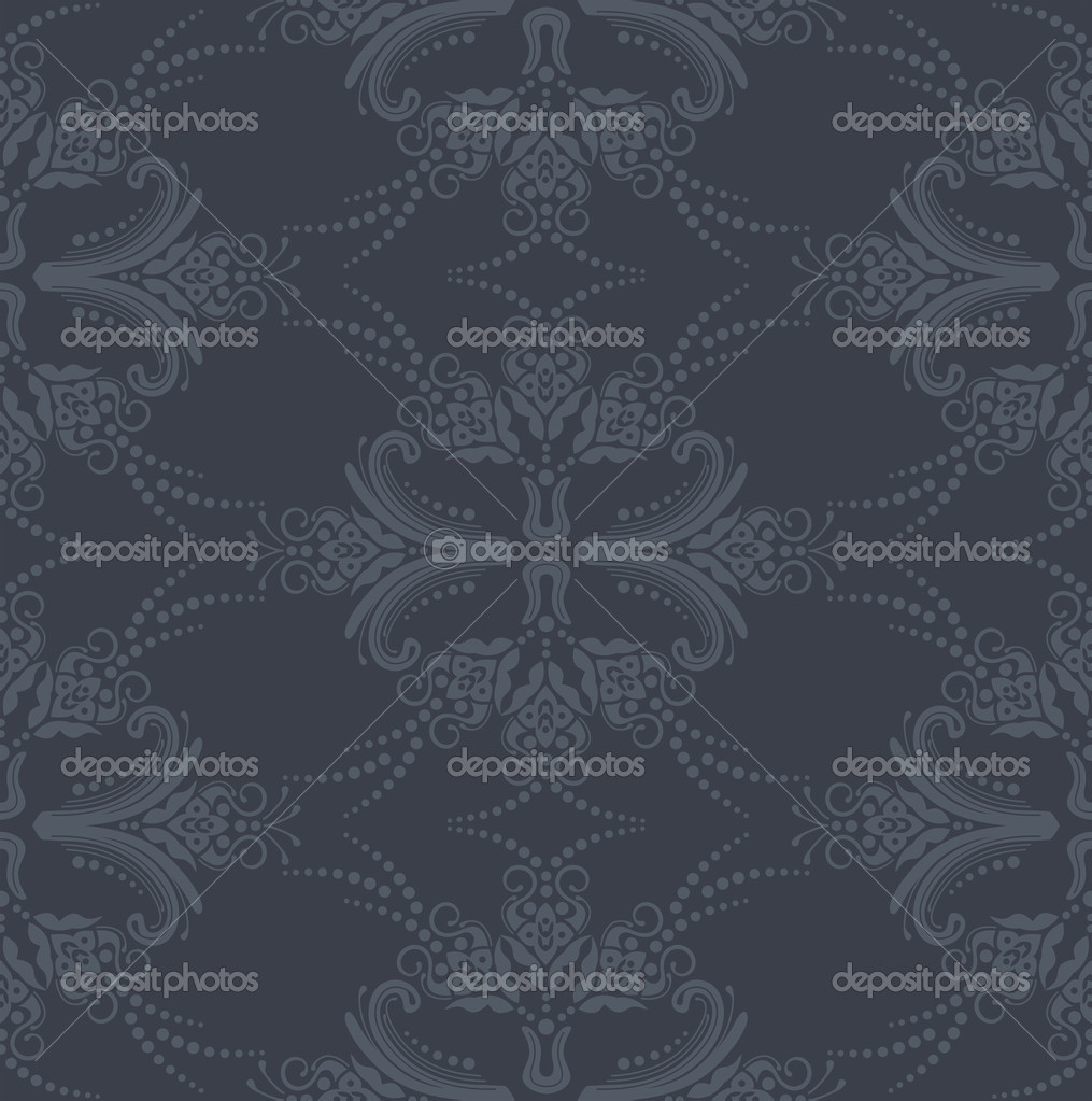 Seamless luxury grey floral damask wallpaper. This image is a vector illustration  Stock Vector #4251673