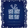 Detailed gift box in a frosty Christmas frame — Stockvektor