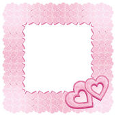 A square frame of two pink diamond hearts — Stock Vector