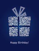 Blue Happy Birthday card — Vetor de Stock
