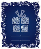 Detailed gift box in a frosty Christmas frame — Stock Vector