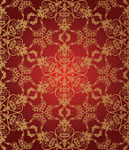 Seamless gold and red snowflake pattern — Stock Vector