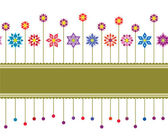Seamless colourful floral retro border — Stock Vector