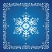 Single detailed snowflake with Christmas border — Vetor de Stock