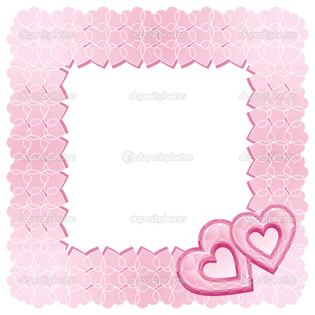 A square frame of two pink diamond hearts. This image is a vector illustration. — Stock Vector #4262566