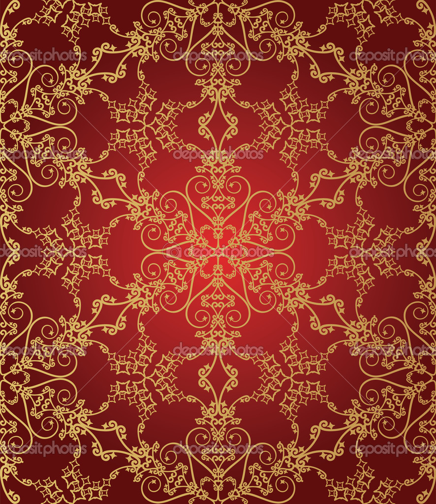 Seamless gold and red snowflake pattern vector illustration — Stock Vector #4262840