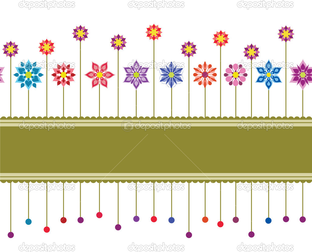 Seamless colourful floral retro border. This image is a vector illustration — Stock Vector #4262854