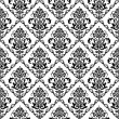 Seamless black & white floral wallpaper - 图库矢量图片