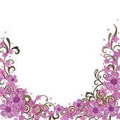 装飾的なピンクと茶色の花のボーダー — ストックベクタ