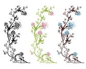 Floral vector designs isolated — Vector de stock