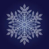 Single detailed snowflake on dark blue background — Stock Vector