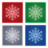 Detailed snowflakes in colour square frames — Stock Vector