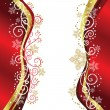 Vector de stock : Red & Gold Christmas border designs