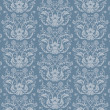 Seamless blue floral damask wallpaper — Stock Vector