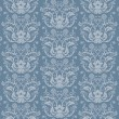 Stock Vector: Seamless blue floral damask wallpaper